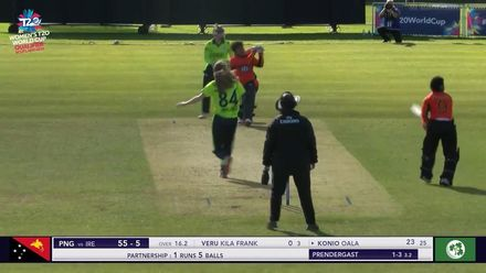 ICC T20WC Qualifier: IRE v PNG - Oala hits a six out of the ground