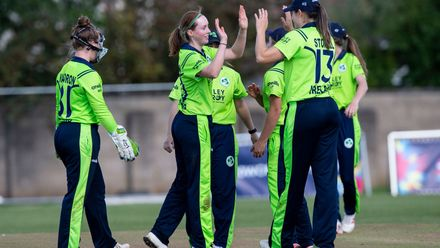 Ireland celebrate the wicket of Papua New Guinea's Konio Oala for a fine 35.