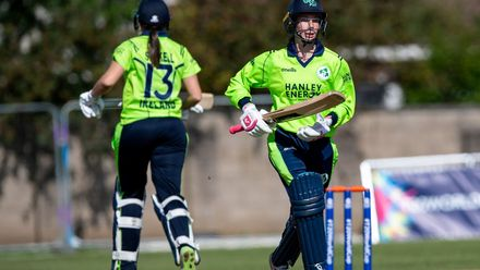 Ireland's Rebecca Stokell and Orla Prendergast between the wickets.