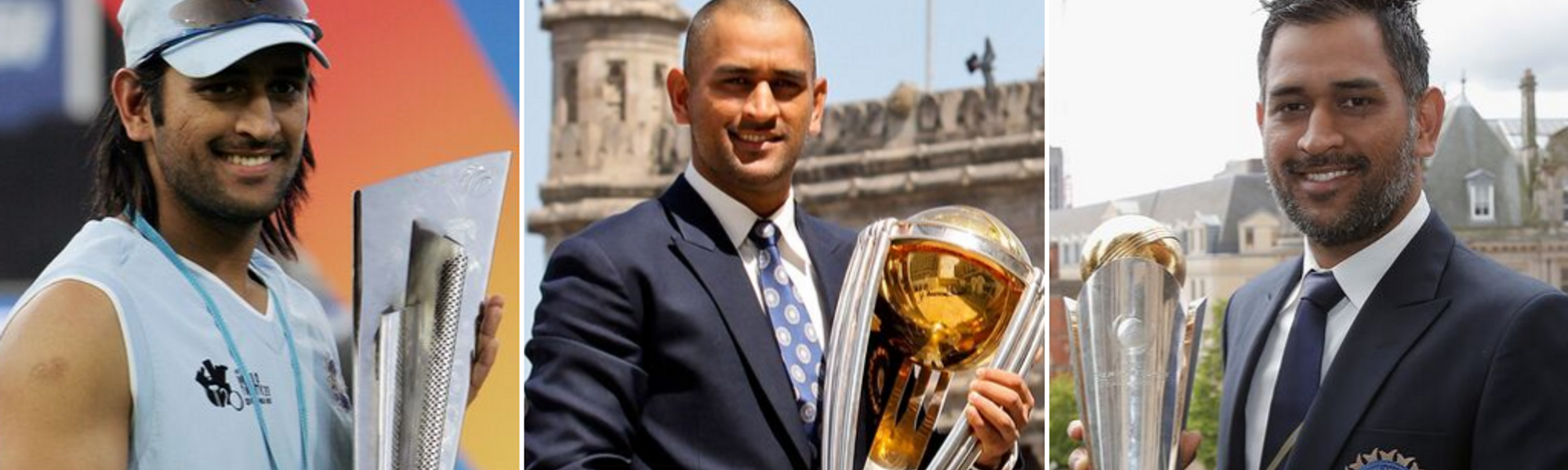 Dhoni ICC trophy collage