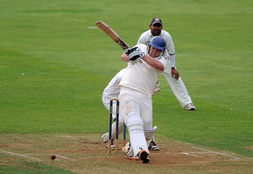 Ollie Hairs in action for York in a 2012 club cricket match in England