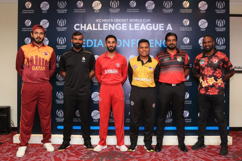 Team Captains for the ICC Men's Cricket World Cup Challenge League A 2019 pose for press after the press conference