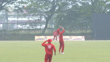 ICC CWC Challenge Group A – DEN v MAS: Denmark's Nikolaj Laegsgaard's catch to dismiss Ramly on 46