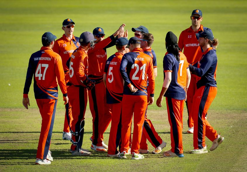 Netherlands claimed three wickets in the chase