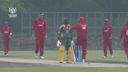 ICC CWC Challenge Group A – DEN v VAN: Matautaava is bowled by Laegsgaard