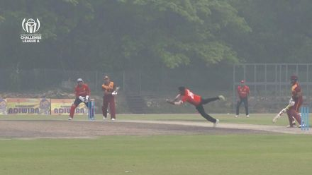 ICC CWC Challenge Group A – CAN v QAT: Nitish Kumar takes a stunner off his own bowling