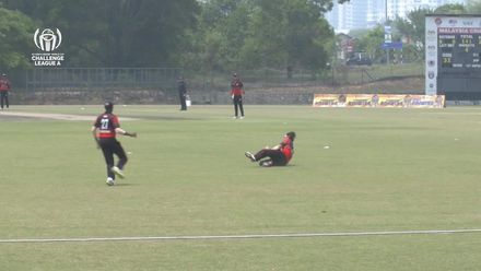 ICC CWC Challenge Group A – MAL v SIN: Tim David takes a brilliant catch to dismiss Malaysia's Aziz