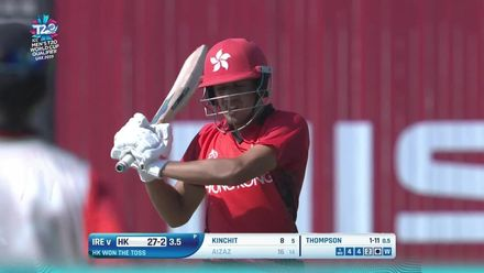 T20WCQ: HK v Ire – Aizaz Khan falls in the Powerplay to Stuart Thompson