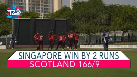 T20WCQ: Sco v Sin – Highlights of Singapore's two-run win