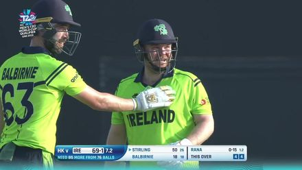 T20WCQ: HK v Ire – Stirling brings up his 50 in the eighth over