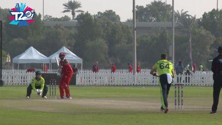 T20WCQ: IRE v OMA  – Khawar Ali hits a six off Delany