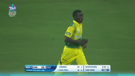 T20WCQ: CAN v NGR – Chima Akachukwu dismisses Navneet Dhaliwal