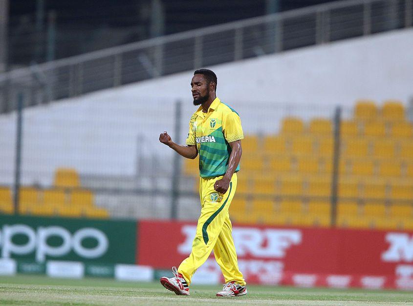 Abiodun Abioye celebrates the wicket of Kirton.
