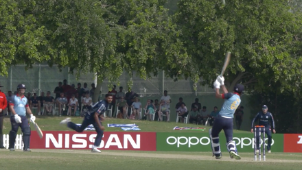 T20WCQ: Sco v Nam – Davin hits Sharif for six over long-off
