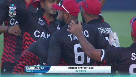 T20WCQ: IRE v CAN – Canada celebrate their win over Ireland