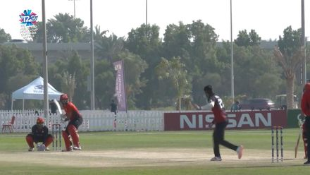 T20WCQ: HK v CAN –  Abraash Khan takes a diving catch