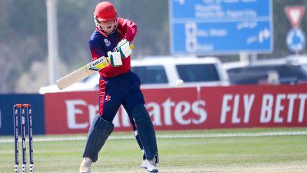Dom Blampied batting against Ireland