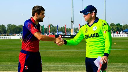 Ireland and Jersey Captains shake hands