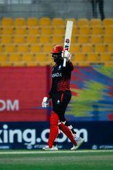 Srimantha Wijeyeratne gets his 50 against Oman