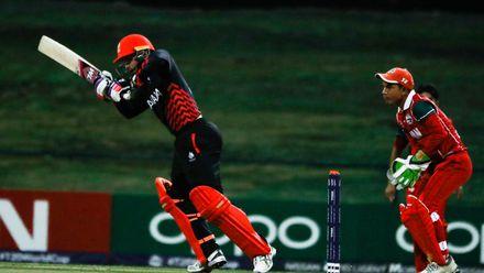 Abraash Khan bats against Oman