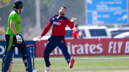 Chuggy Perchard bowls against Ireland