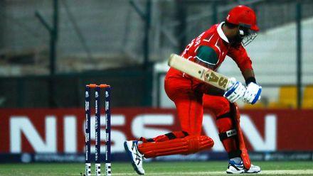 Khawar Ali bats against Canada