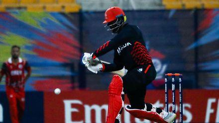 Srimantha Wijeyeratne bats against Oman