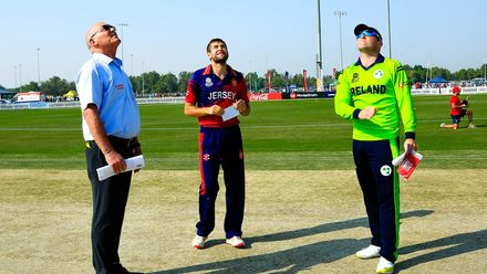 Ireland and Jersey Captains at the toss, Ireland wins and elected to field first