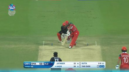 T20WCQ: OMA v CAN – Ilyas pummels Dutta for four boundaries
