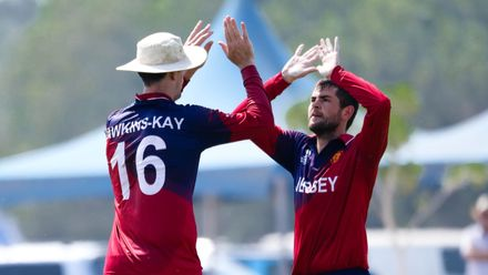 Chuggy Perchard celebrate after taking wicket