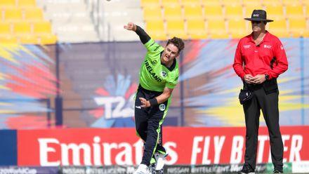Mark Adair bowls against Nigeria