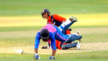 Allan Douglas running between the wickets