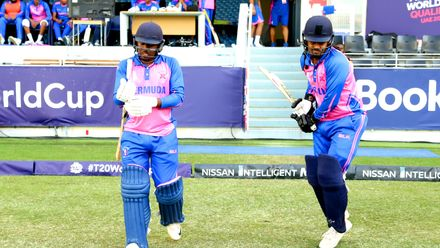 Bermuda Openers Dion Stovell & Oronde Bascome stride out to Bat