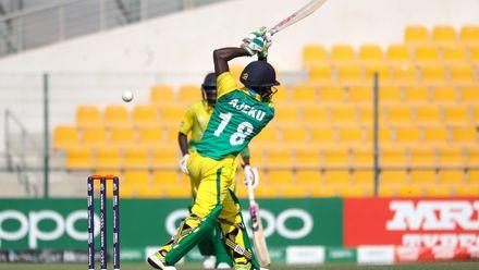 Daniel Ajeku bats against Ireland