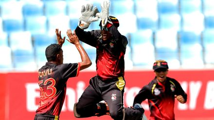 PNG celebrate Rezza Ghaznavi  wicket