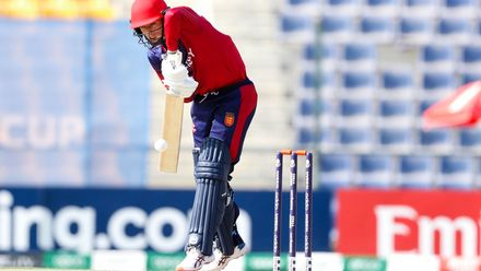 Nick Greenwood bats against Oman