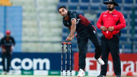 Saad Zafar bowls against UAE