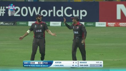 T20WCQ: UAE v CAN –Sultan Ahmed just about clings on to dismiss Dhaliwal