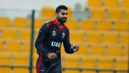 Ahmed Raza celebrates