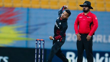 Junaid Siddiqui bowls against UAE