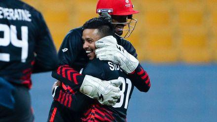 Junaid Siddiqui celebrate after taking wicket