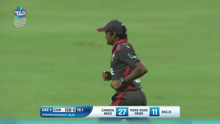 T20WCQ: UAE v CAN: Ravinderpal Singh falls after a brief cameo