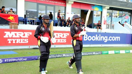 Openers Assadollah Vala & Tony Ura come out to bat against Singapore
