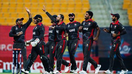 UAE celebrate after winning the match
