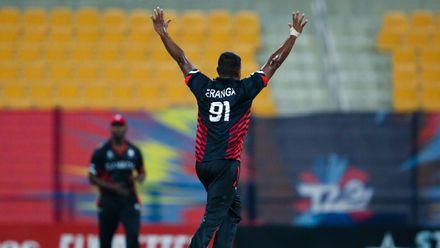 Romesh Eranga celebrates after taking a wicket