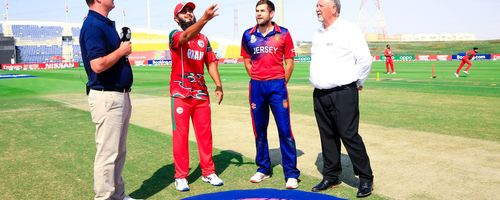 Oman v Jersey Captains at the toss.