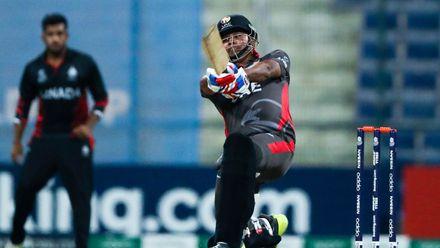 Waheed Ahmed bats against Canada