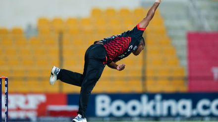 Romesh Eranga bowls against UAE