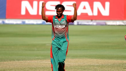 Emmanuel Bundi celebrates Assadollah Vala wicket