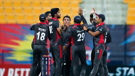 Junaid Siddique celebrates after taking wicket